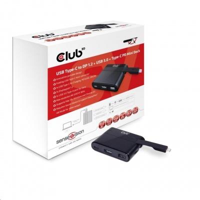 Club3D Mini dock USB typ C na DisplayPort/USB/USB-C PD