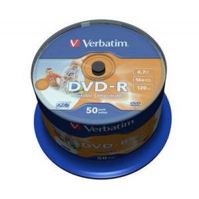 VERBATIM DVD-R(50-Pack)Spindle/Inkjet Printable Wide/16x/4.7GB