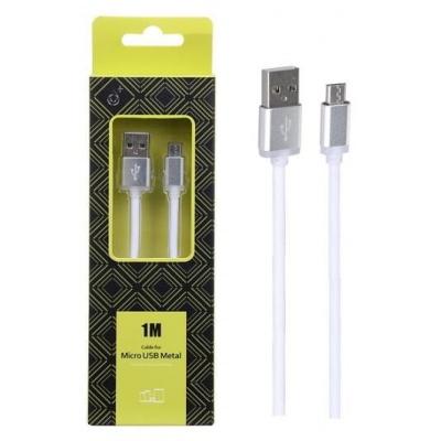 PLUS datový a nabíjecí kabel AS110 METAL, konektor micro USB, bílá