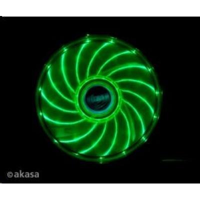 AKASA ventilátor Vegas 120x120x25mm, 1200RPM podsvícený, 15xLED, zelený